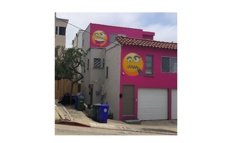 The emoji house, painted by Z the Art