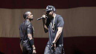 Kanye West and Jay Z perform at a concert during their Watch the Throne tour June 1, 2012, in Paris.GUILLAUME BAPTISTE/AFP/GettyImages