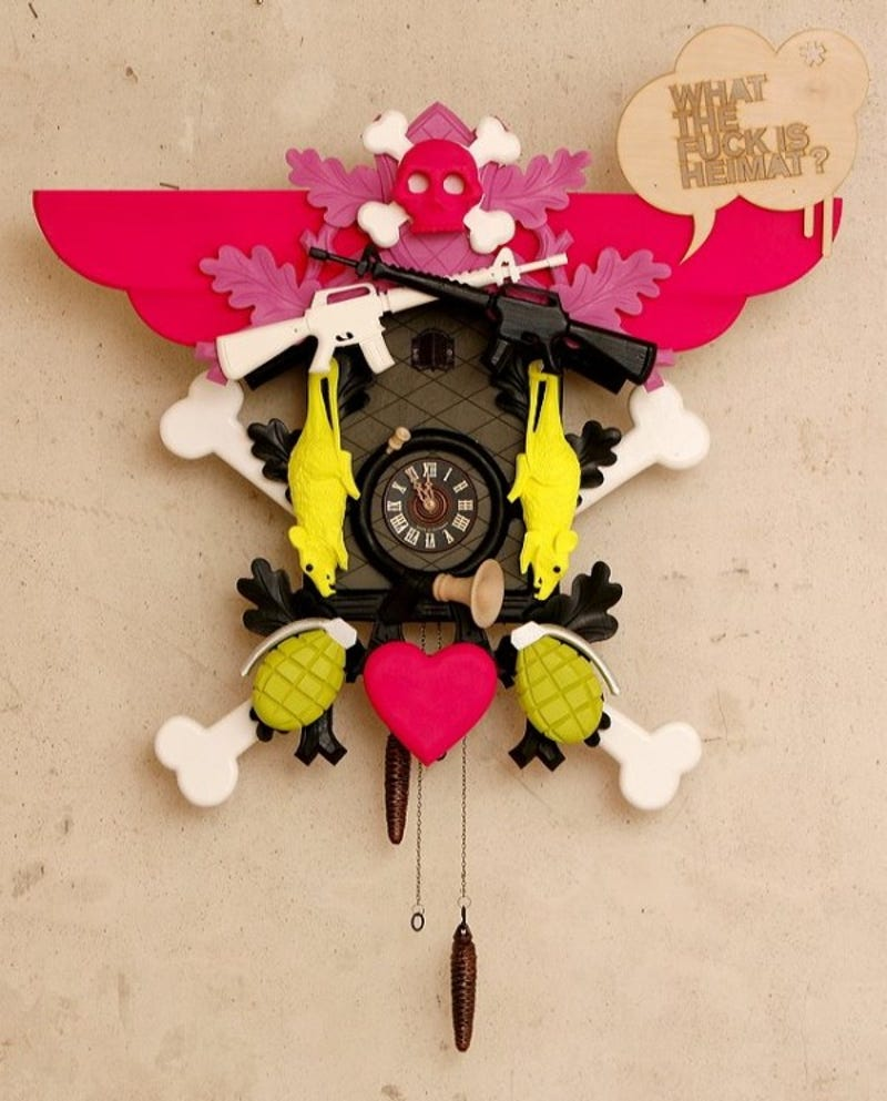 graffiti cuckoo clocks tell the time while looking crazy