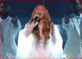 "Beyoncé singing ""Take My Hand, Precious Lord"" at the Grammys in Los Angeles Feb. 8, 2015YouTube screenshot"