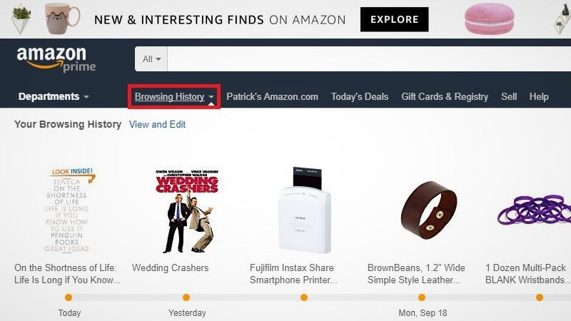 how to clear order history amazon