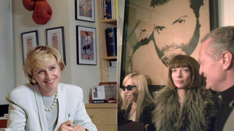 Tina Brown in her Vanity Fair office in 1992; Anna Wintour in 1997. Photos via AP Images.