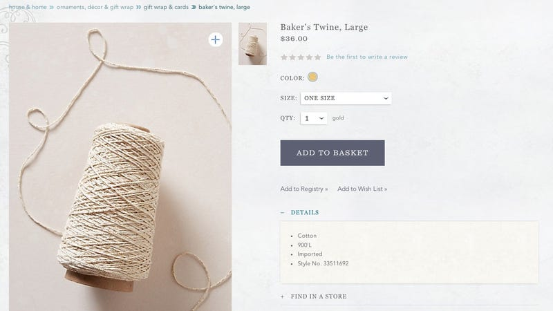 Illustration for article titled Anthropologie Is Selling a $36 Spool of Twine