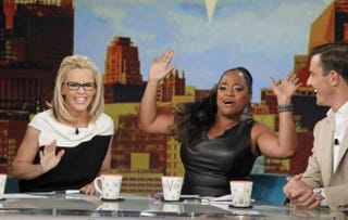 This season will be the last with The View for co-hosts Jenny McCarthy and Sherri Shepherd, pictured during a June 25, 2014, show when Bill Rancic appeared as a guest co-host.Lou Rocco/ABC via Getty Images