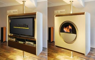 Illustration for article titled Skloib's TV Drehturm Cabinet Rotates Between TV and Fireplace
