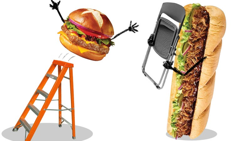 Illustration for article titled Fast-Food Fight: Subway's Pulled Pork Vs. Wendy's Pretzel Bacon Burger