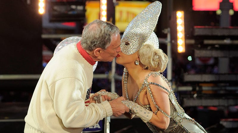 Illustration for article titled Lady Gaga Kissing Mayor Bloomberg Is The Most Awkward Thing of 2012 So Far