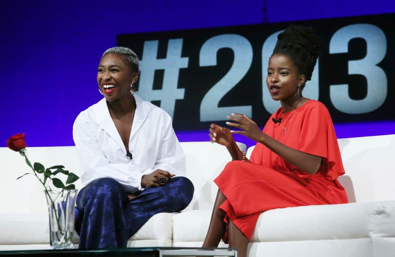 National Youth Poet Laureate Amanda Gorman (right) has a conversation with actress and singer-songwriter Cynthia Erivo during the Social Good Summit on Sept. 17, 2017, in New York City. (Stuart Ramson/AP Images for UN Foundation)