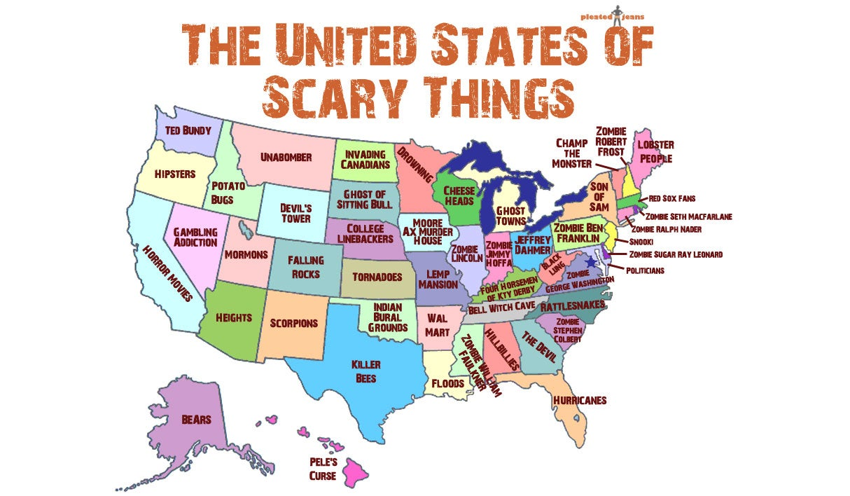 Handy map of the United States showing the scariest thing in every