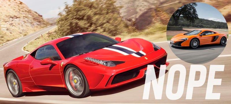 Illustration for article titled Ferrari Refuses Video Track Test Of 458 Speciale VS. McLaren 650S