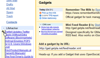 Illustration for article titled Feed Reader for Gmail Adds RSS Gadgets to Your Inbox