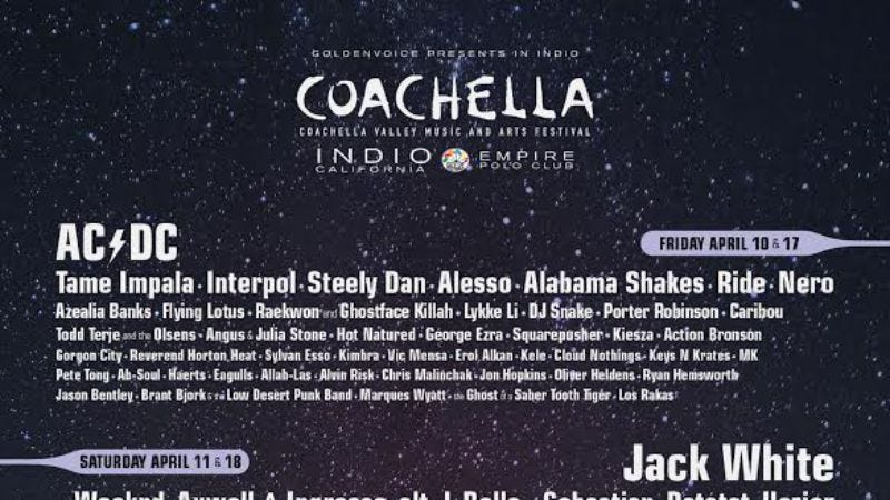Illustration for article titled AC/DC, Jack White, and Drake will headline this year's Coachella
