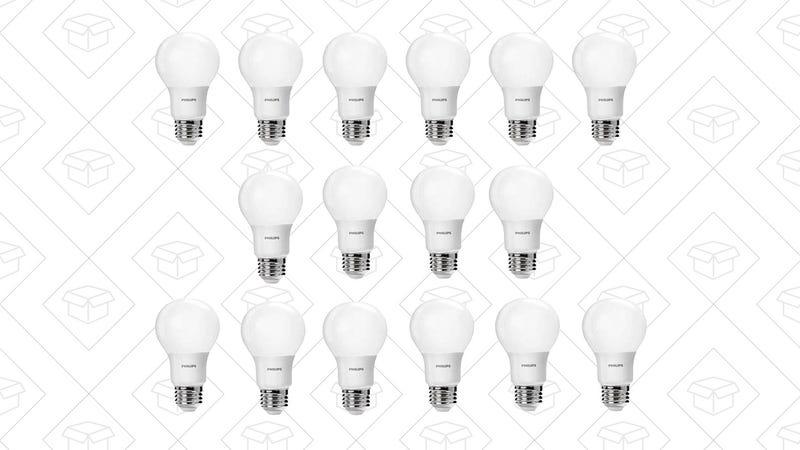 Philips 461129 60 Watt Equivalent Soft White A19 LED Light Bulb, 16-Pack, $20