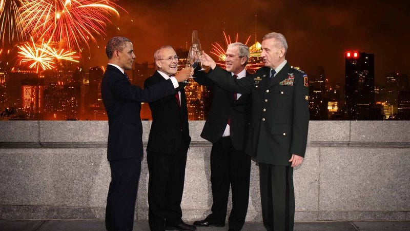 The architects of the past 10 years of peace and prosperity drink to their success from the observation deck of New York's Freedom Tower.