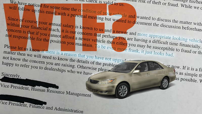 Illustration for article titled That Awful Email About An Employee's Old Car May Not Be Real But I Still Cannot Abide