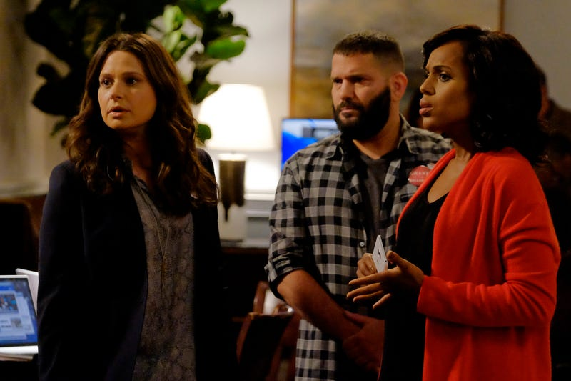 Katie Lowes, Guillermo Diaz and Kerry Washington in scene from Scandal (Tony Rivetti/ABC)