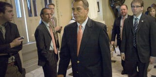 GOP House Speaker John Boehner arrives on Capitol Hill over the weekend. (Chris Maddaloni/Getty Images)