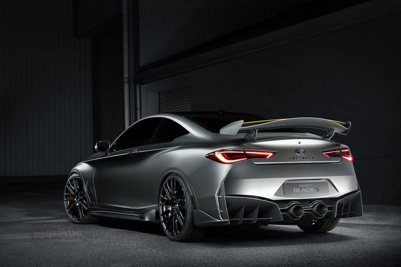 infiniti q60 blacked out. the infiniti q60 black s concept is a nasty 500 hp hybrid with f1style kers blacked out