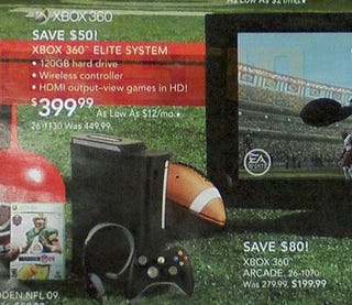 Illustration for article titled RadioShack Flyer Indicates Xbox 360 Price Cuts on Elite, Arcade Systems