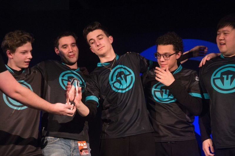 """Stefano """"Verbo"""" Disalvo, center, now plays for the LA Valiant in Overwatch League... despite his parents' reservations (image via Immortals)"""