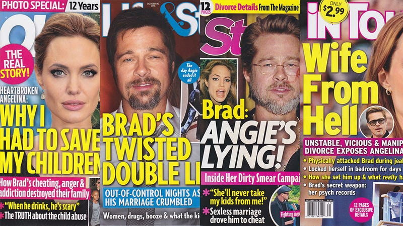 Illustration for article titled This Week In Tabloids: Two Mags Are Pro-Angie, Two Mags Are Pro-Brad, & None of Them Are Convincing