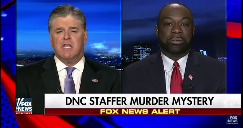 """Hannity and Rod Wheeler, a private investigator who briefly worked for the Rich family. Fox 5 and Fox News have both admitted in retractions that Wheeler has """"backtracked"""" on his statements that Seth Rich leaked DNC emails to Wikileaks. Screenshot via Fox News."""