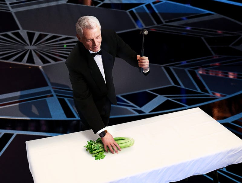 Illustration for article titled Sound Designer Hits Celery With Hammer In Performance Of Oscars Best Sound Mixing