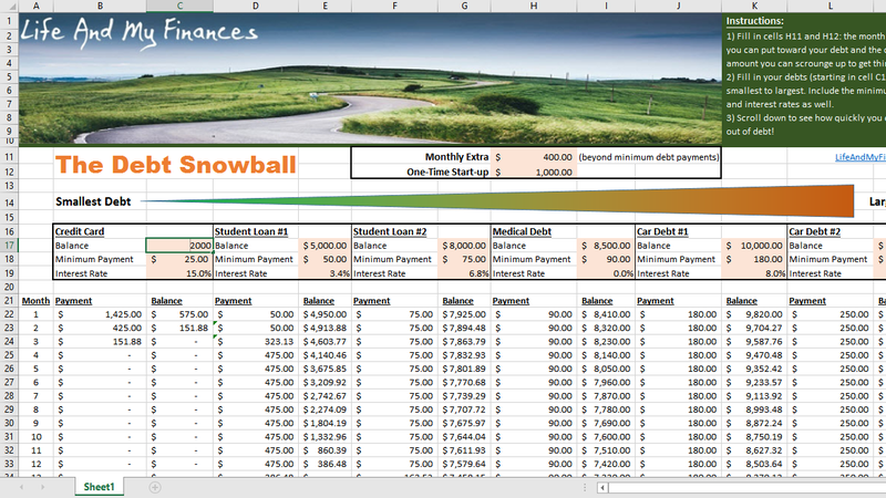This Spreadsheet Calculates When Youll Pay Off Debt With the – Snowball Debt Worksheet