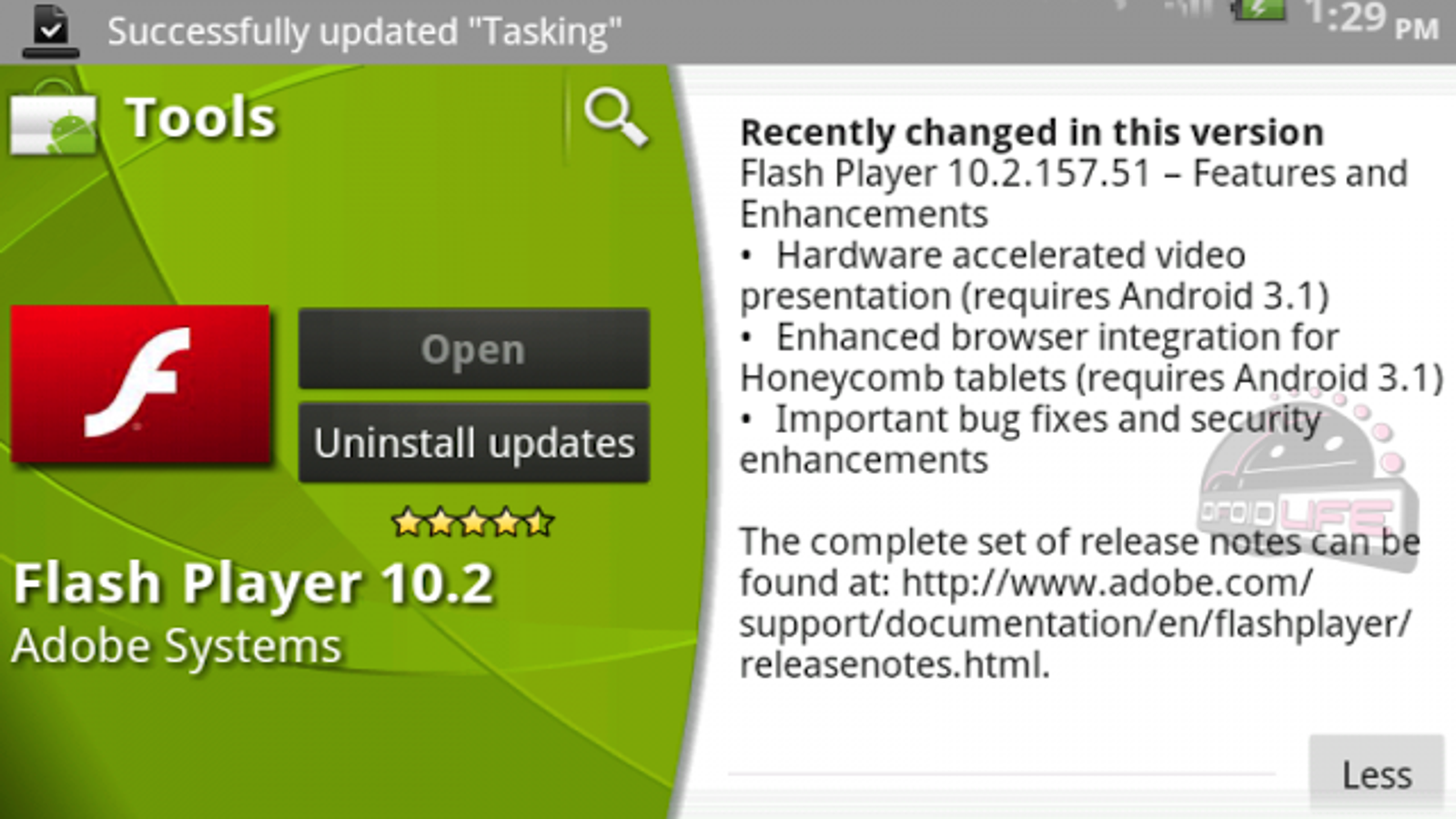 Flash 10 2 Is Available for Android 3 0 and Hints at