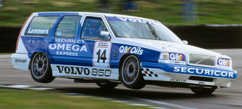 Illustration for article titled Volvo's 850 Wagon Racer Was All Sorts Of Two Wheeling Awesome Insanity