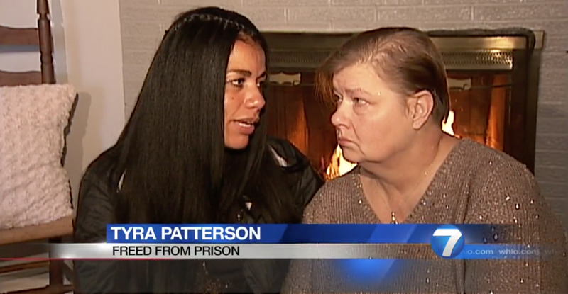 Tyra Patterson with her mother (WHIO-TV screenshot)