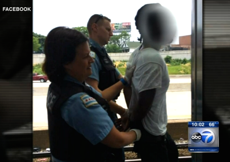 Chicago police apprehend a man they are calling a person of interest in the fatal stabbing of a woman on  a Chicago transit train June 23, 2016.WLS screenshot