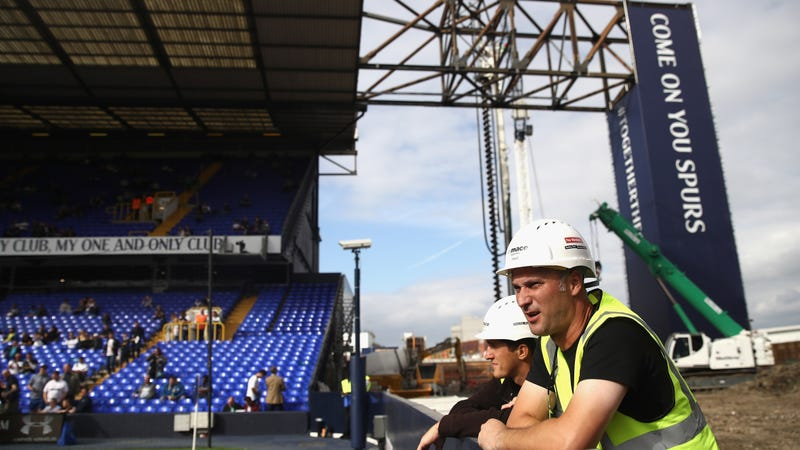 Construction workers on the new stadium site in 2016 while White Hart Lane was still in use.