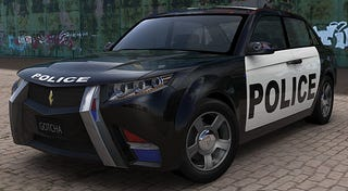 Illustration for article titled E7 Cop Car of the Future Still Despises Batmobile