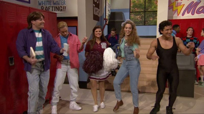 Illustration for article titled Jimmy Fallon staged a Saved By The Bell reunion
