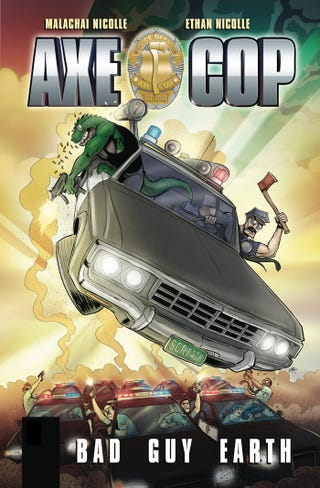 Illustration for article titled And now, Axe Cop riding his patrol car to destiny