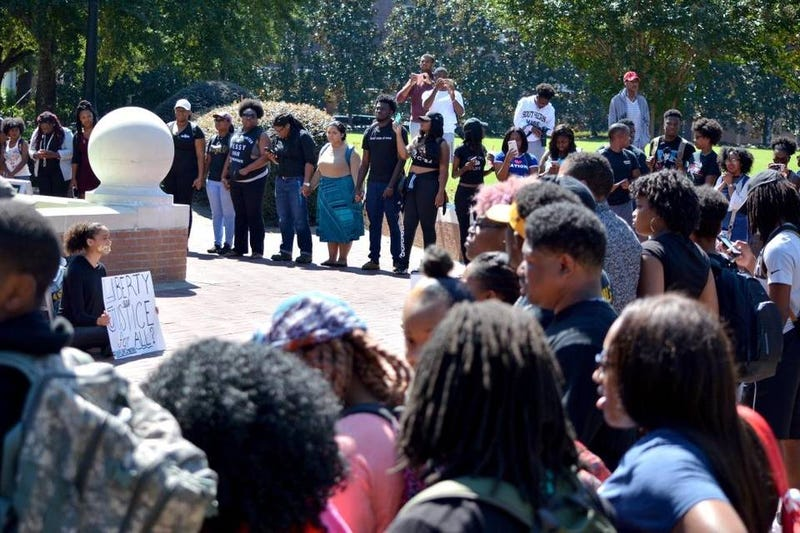 University of Southern Mississippi students gathered on campus Oct. 3, 2016, to show support for two women who said they were attacked for not standing for the national anthem during USM's football game against Rice University on Oct. 1, 2016.Cam Bonelli/Student Printz