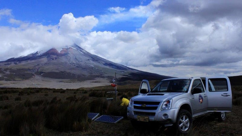 Researchers at Ecaudor's Instituto Geofisico are maintaining monitoring equipment used to pick up infrasound at Cotopaxi volcano