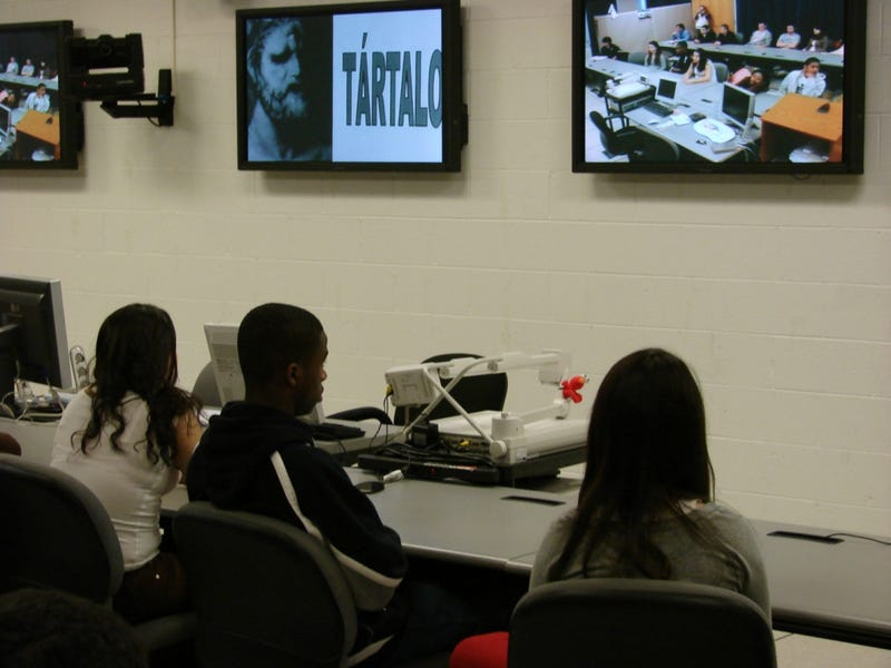 Students at Walter Payton College Prep participate in a videoconference call.