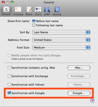 Illustration for article titled Mac OS X's Address Book Can Now Sync Google Contacts (Update: For iPhone Owners Only, UGH)