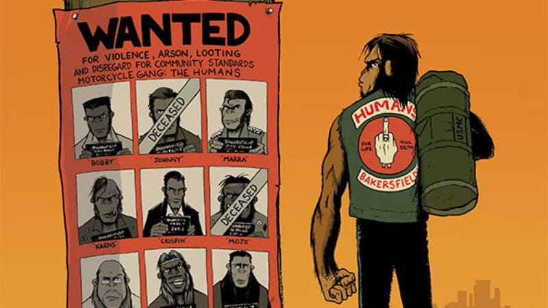 Illustration for article titled The Humans explores 1970s America with a badass primate biker gang