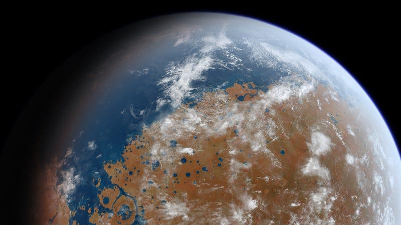 Artist's impression of what Mars looked like billions of years ago. (Image: Ittiz)