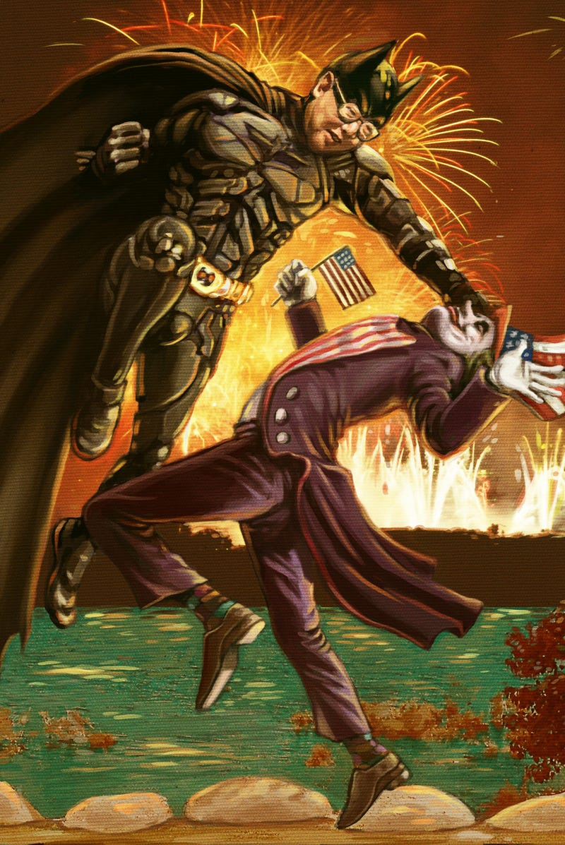 Illustration for article titled National Batman Hero displays both force and compassion in his destruction of USA Laugh Nemesis.