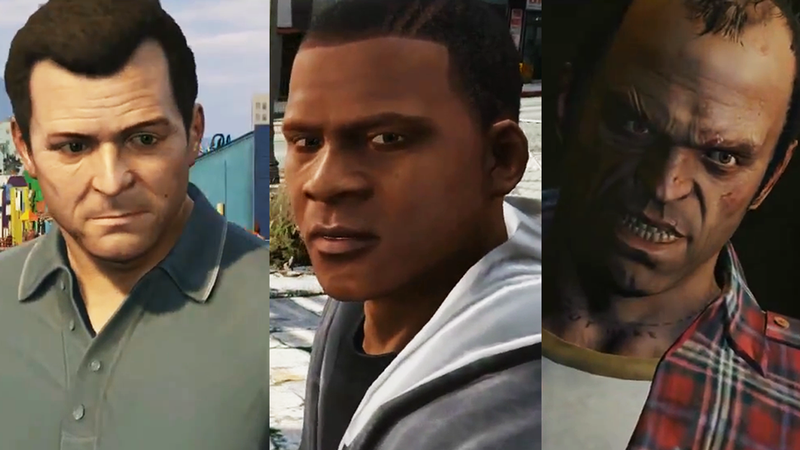 Illustration for article titled The Grand Theft Auto V Trailers, Summed Up in 3 Animated GIFs