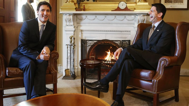 Speaker Paul Ryan, seen here laughing so, so hard next to Canadian Prime Minister Justin Trudeau. Image via Getty.