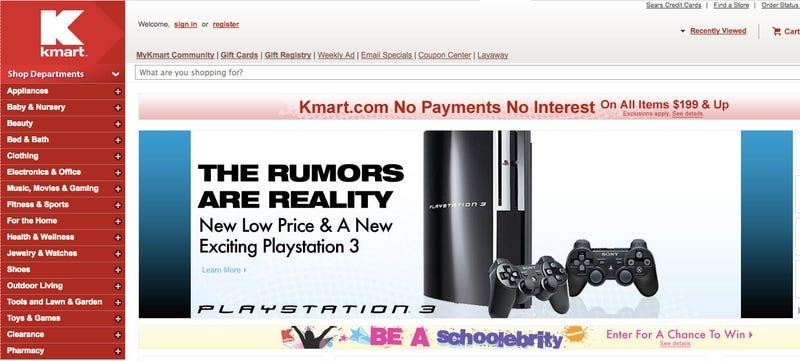 Illustration for article titled K-Mart Confirms $300 PS3 Slim Rumors With Some Subtlety