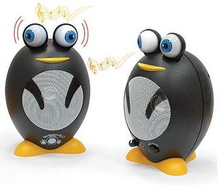 Illustration for article titled Penguin Speakers - Round and Bug-Eyed Sonic Goodness