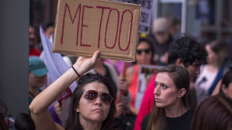 Demonstrators participate in the #MeToo Survivors' March in response to several high-profile sexual harassment scandals on November 12, 2017 in Los Angeles, California. The protest was organized by Tarana Burke, who created the viral hashtag #MeToo after reports of alleged sexual abuse and sexual harassment by the now disgraced former movie mogul, Harvey Weinstein. (Photo by David McNew/Getty Images)