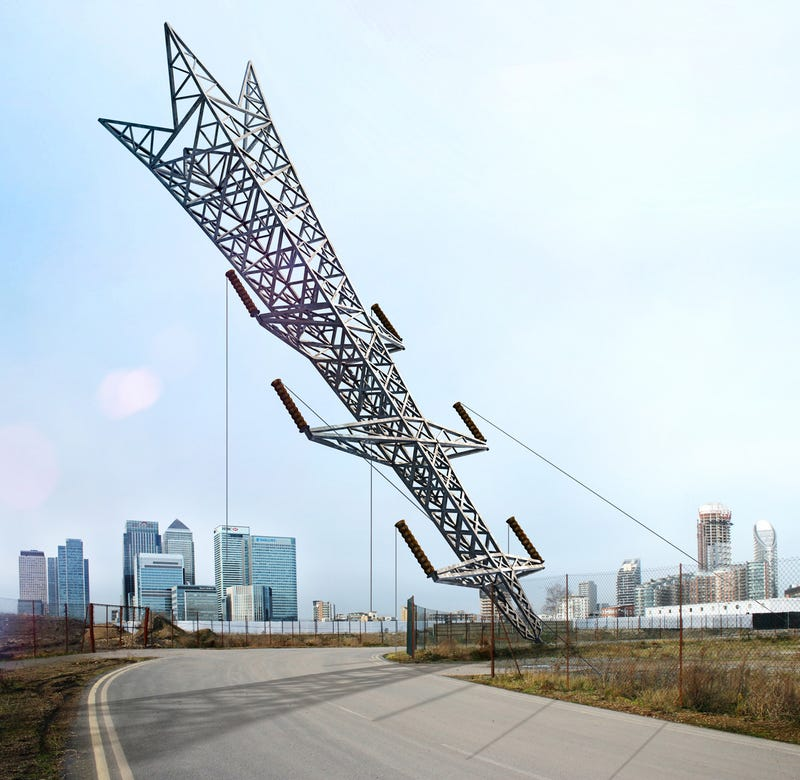 This transmission tower sculpture looks insanely precarious for Pylon foundation