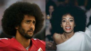 Colin Kaepernick; Solange Thearon W. Henderson/Getty Images; @saintrecords via Instagram